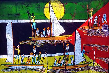 非洲艺术蜡染抽象派画作莫桑国旗图片