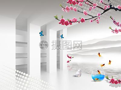 现代建筑抽象背景墙图片