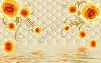 欧式复古花纹背景墙图片