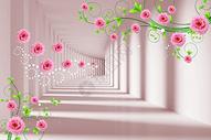 现代花纹长廊背景墙图片