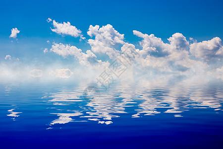 蓝天白云倒影之美图片