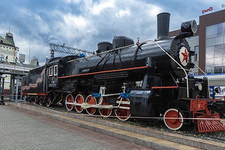 俄式老式蒸汽火车头图片