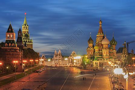莫斯科红场圣瓦西里大教堂夜景图片