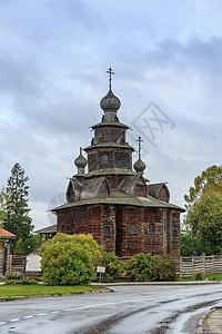 莫斯科郊区金环小镇苏兹达尔木质教堂图片