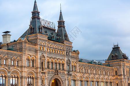 莫斯科红场上的古姆百货商店夜景图片