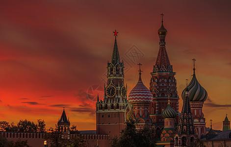莫斯科著名旅游景点圣瓦西里大教堂日落风光图片