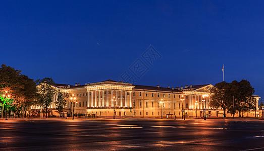 圣彼得堡冬宫广场海军总部夜景图片