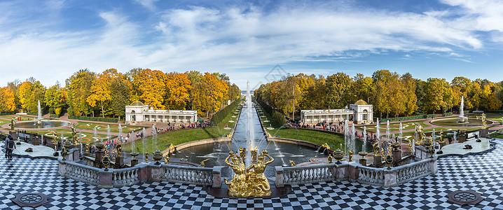 圣彼得堡夏宫下花园喷泉全景图图片