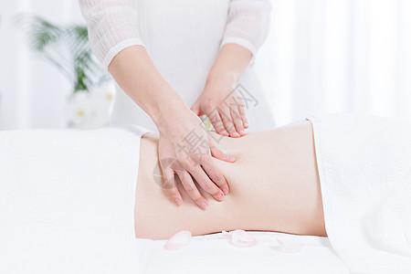 女性养生SPA腹部按摩图片