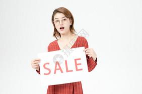 女性购物打折促销图片