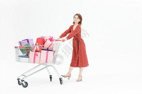 女性购物买礼物图片