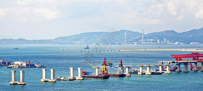 港珠澳大桥建设中图片