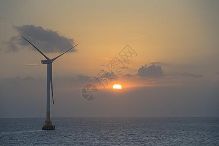 夕阳下的风能发电机图片
