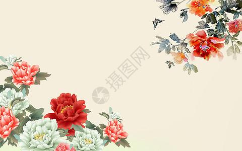 中式花朵背景墙图片