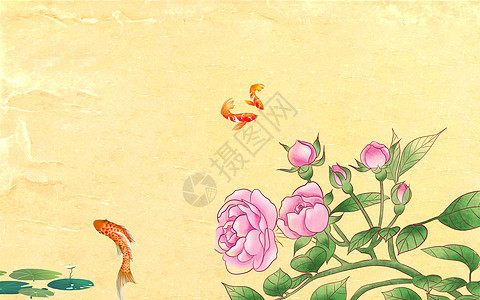 中式荷花荷叶背景墙图片