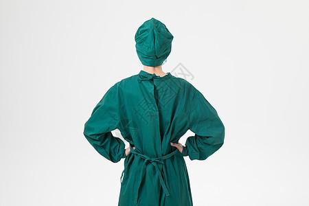 疫情下的医生手术服背影图片