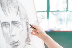 女性绘画素描特写图片