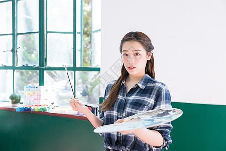 青春油画女孩图片