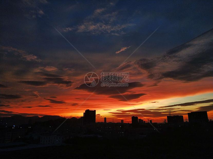 深圳城市夕阳晚霞图片