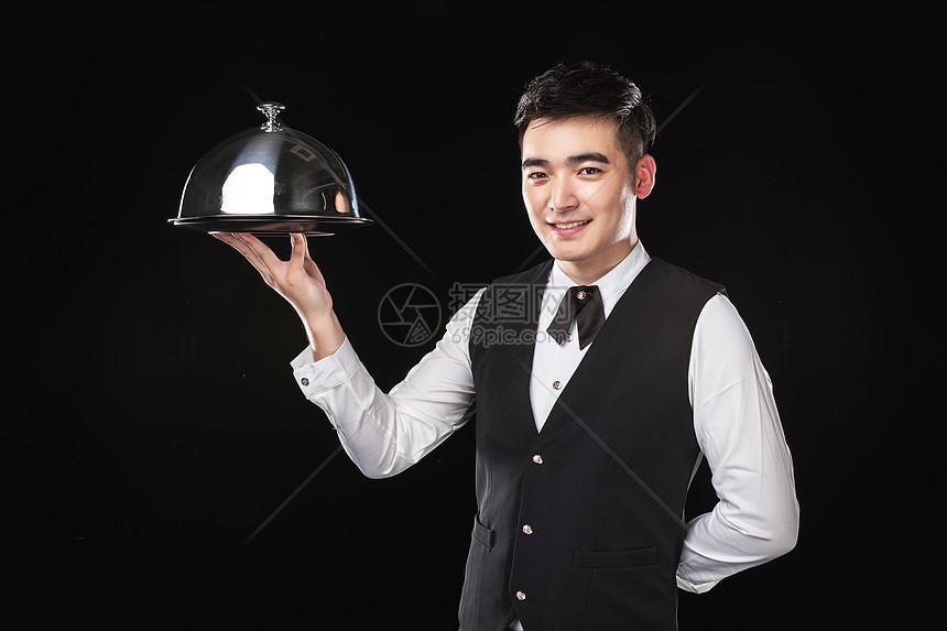 男服务生托托盘图片
