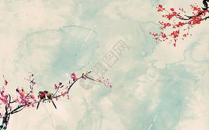 古典梅花飞燕背景墙图片