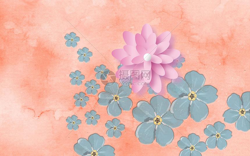 现代花朵瓷砖背景墙图片