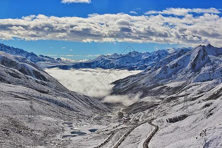 绵延的高原雪山和云海图片