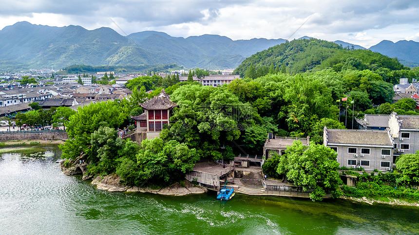 航拍浙江溪口古镇风光图片