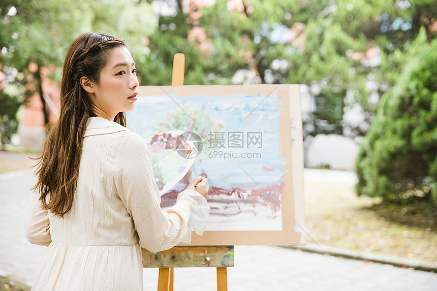 文艺美女画油画图片
