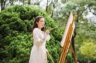 文艺美女画油画501100601图片