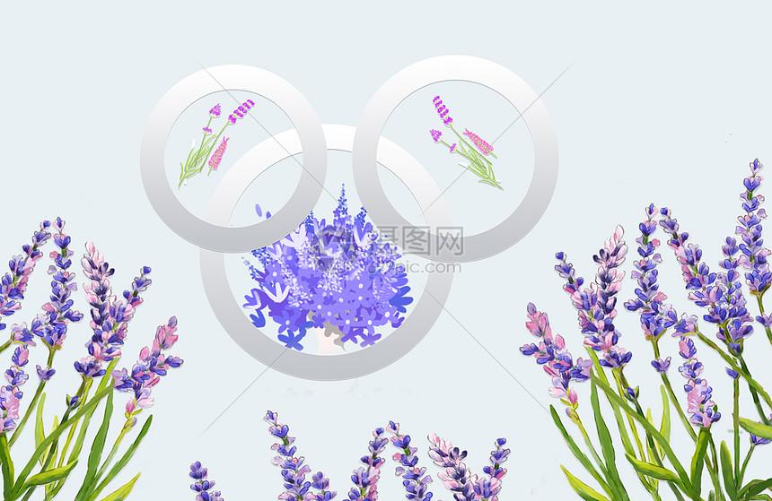 现代薰衣草背景墙图片
