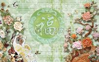 梅花大理石背景墙图片