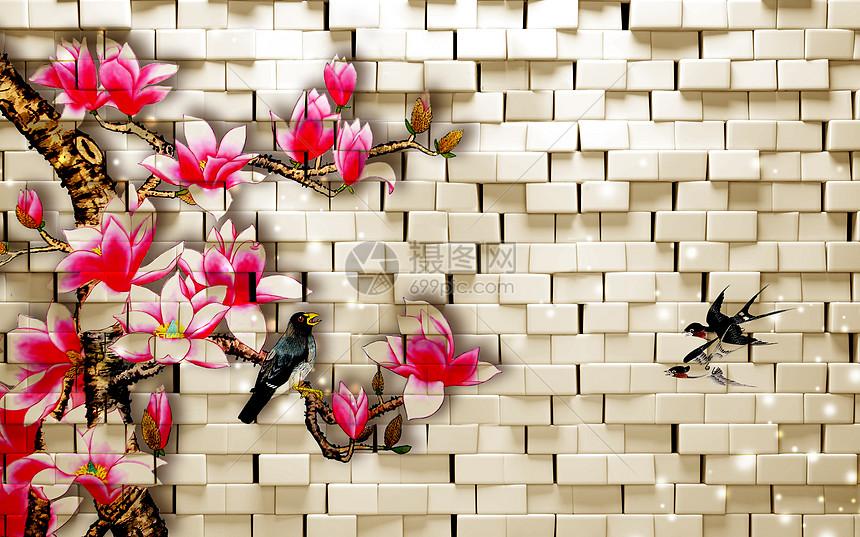 现代砖墙梅花背景墙图片