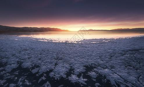赛里木湖冰花图片