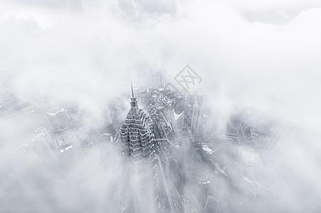云雾中的上海外滩图片
