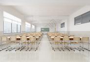 现代简洁风学生教室室内设计效果图图片