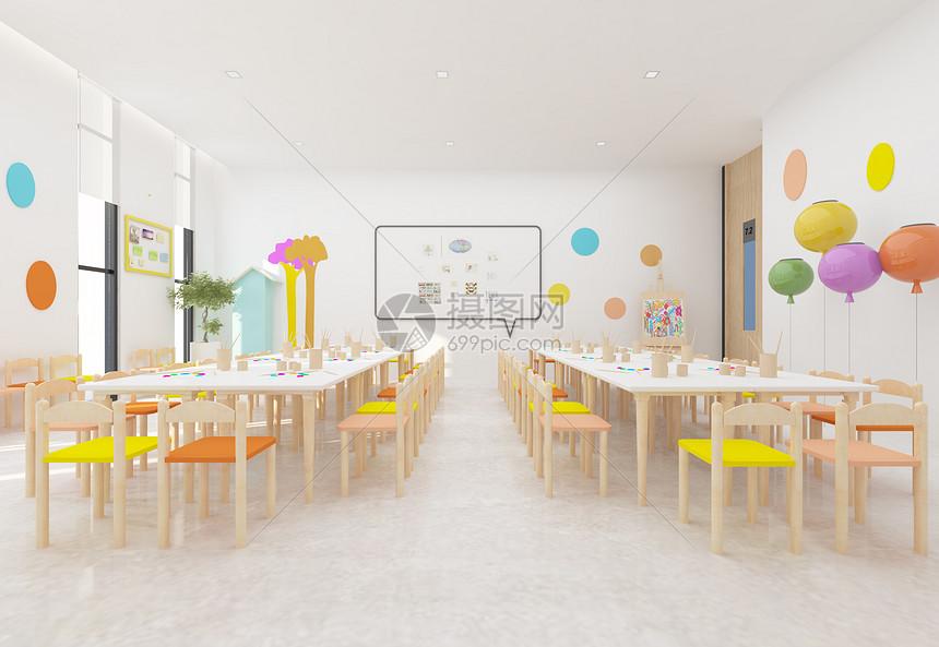 现代简洁风儿童美术练习室室内设计效果图图片