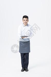 男性服务员托盘图片