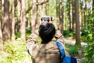 远足男性拍照背影图片