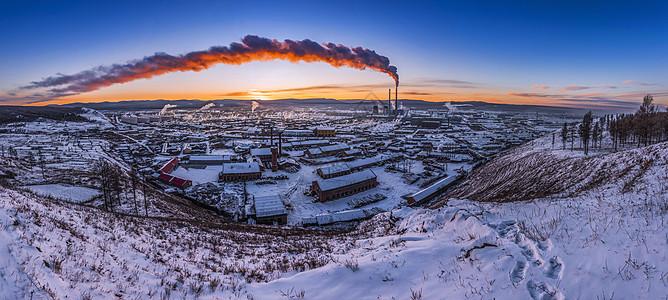 内蒙古呼伦贝尔城市风光雪景图片