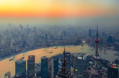 夕阳下上海的浦江两岸图片