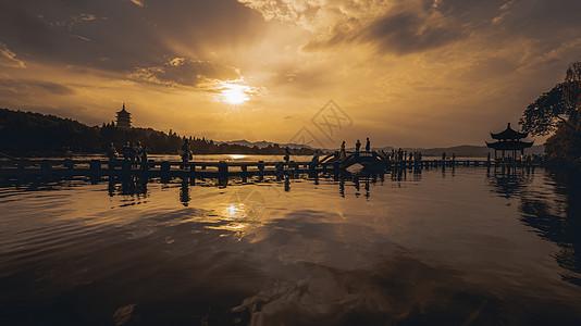 杭州西湖夕阳图片