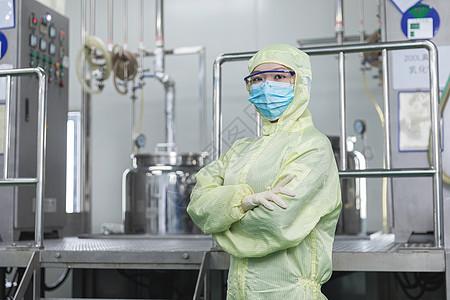 化工厂无菌服工人形象图片