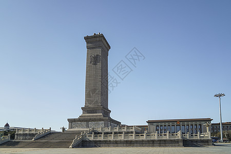 北京人民英雄纪念碑和人民大会堂图片