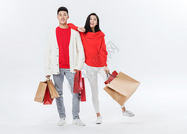 情侣红色喜庆购物图片