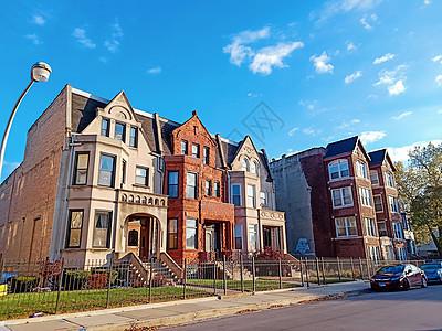 晴天的美国芝加哥城郊建筑图片