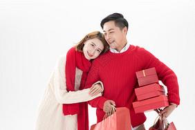 新年情侣逛街购物图片