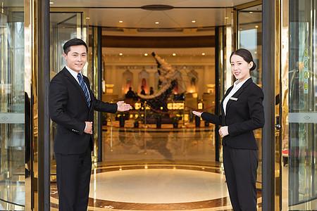 酒店管理服务人员接待形象图片