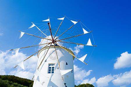 日本小豆岛橄榄公园白色风车图片