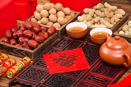 春节年货茶礼福字书法春联图片